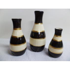 Jogo Vasos Em Cerâmica - Cru C/ Marrom E Dourado