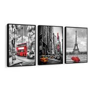 Quadro Decorativo Cidade Londres Paris New York Torre Eiffel