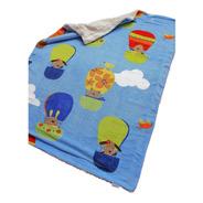 Cobertor Con Borrega Infantil 1.00x1.30 Modelo Globos Azul