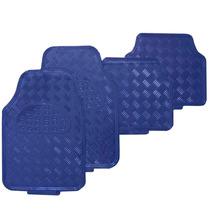 Jogo Tapete Metalico Tipo Aluminio Azul 4 Peças - Tuning