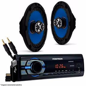 Kit Auto Radio Positron Usb Micro Sd + Par Alto Falante 6