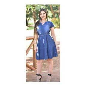 Vestido Feminino Jeans Moda Evangélica Evasê Juju Ref 0027