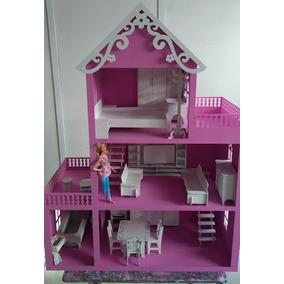 Casa Casinha Bonecas Da Barbie Mdf Pintada Com Móveis