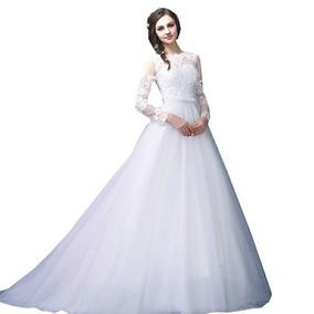 Vestido De Noiva Princesa Manga Calda Pronta Entrega