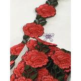 Galón Bordada De Rosas Rojas