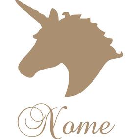 Aplique De Parede Unicornio Com Nome Personalizado Mdf Cru