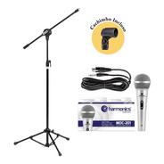 Kit Pedestal + Microfone Mdc201 Harmonics+cachimbo Promoção!