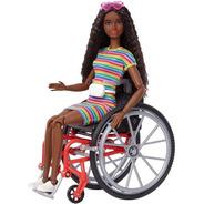 Boneca Barbie Fashionista 166 Negra Cadeirante Articulada