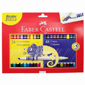 Canetinha Hidrográfica 48 Cores Bicolor Faber Castell