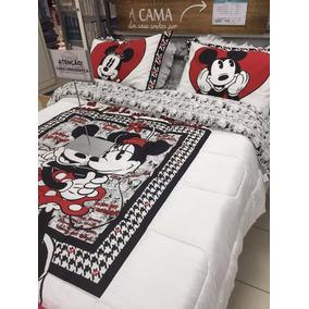 Edredom E Jogo De Cama Casal Minnie & Mickey Disney Original