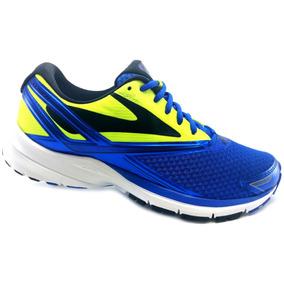 Tenis Brooks Launch 4 Azul Verde Correr Running