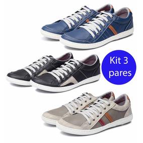 07530fa6877 Kit 3 Pares Sapatênis Avalon Kit 27 Cinza preto Branco azul