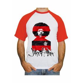 Camiseta Raglan Flamengo Jimi Hendrix Rubro Negro