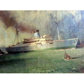 Cuadro Pintura Oleo Barco Marina Puerto 1950 Rio Tunuyan ??