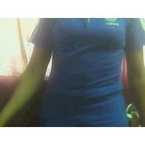 Polo Adidas Azulino Con Blanco Talla Small .