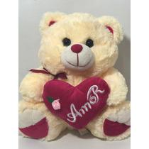 Urso De Pelúcia Coração 35cm Amor Eu Te Amo Varias Cores