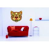 Adesivo Decoração Parede Sala Animais Gato Rosto Colorido