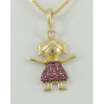 Pingente Menininha Pedras Rosas Ouro 18k Preço De Lançamento