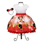 Vestido Infantil Minnie Vermelha + Tiara Luxo
