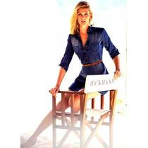 Camisa Vestido Jeans Feminina Cinto E Calcinha De Brinde