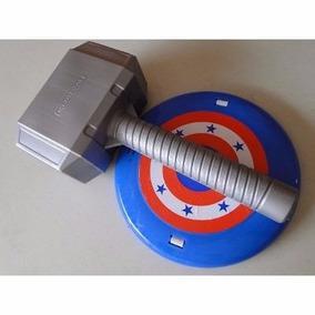 Martelo E Escudo Thor Capitão America Para Fantasia Infantil