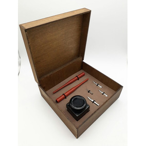 Kit Caneta Tinteiro Nanquim Caligrafia 4 Penas + Tinta Luxo