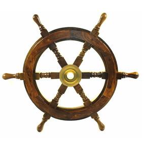 Timón Barco Decorativo Nautica Pirata 45cm Madera Y Latón