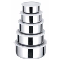Kit Conjunto De Potes Em Aço Inox 5 Peças Pronta Entrega
