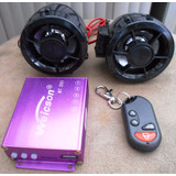 Amplificador C/ Bocinas Moto Mt201 Usb /micro /fm /alarma