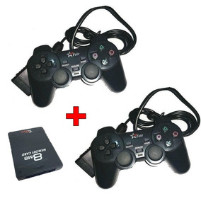 Kit 2 Controle Ps2 Com Fio + Memory Card 8mb Play 2 Cfi