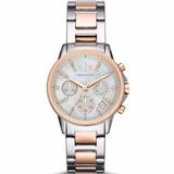 Reloj Armani Exchange Para Dama Ax4331 Plata/oro Rosa Crono*