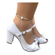 Sandália Branca Boneca Salto Médio Grosso Alto Comfort Noiva Casamento