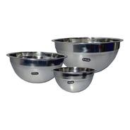 Set X3 Bowl Acero Cocina Batidor Reposteria Reforzado