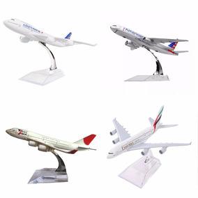 4 Pç Miniatura Aviao Metal Boeing Airbus Varios Modelos 16cm