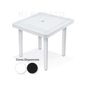 Mesa De Plástico Quadrada Desmontável C/ Furo - 25153