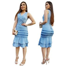 Vestido Jeans Feminino Midi Moda Evangélica Blogueira Iphone