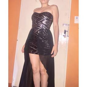 Vestido De Noche Fiesta Casamiento Con Cola Gasa Lent