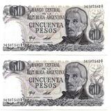 Pareja Billetes 50 Pesos Argentina 1976-1978