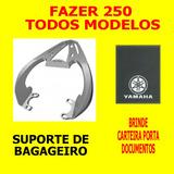 Suporte Bagageiro Baú Scam Yamaha Fazer 250 - Preto Ou Prata