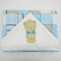Toalha Fralda De Banho Masculino Com Capuz Patchwork Azul Ur