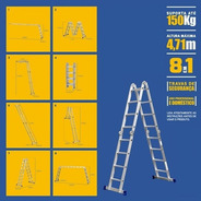 Escada Mor 4x4 Multifuncao 16 Degraus 4,71m Altura