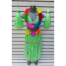 Disfraz Hawaiana Color Verde Disfraces Niños Niña Vestido M4