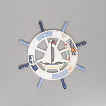 Timão Madeira Decorativo Barco Decorado Resina 43x43 R25204