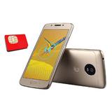 Kit Claro + Celular Motorola Moto G5 32gb 13mpx 4g - Dorado