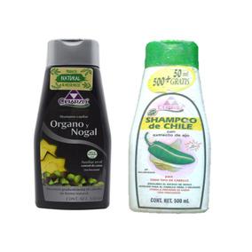 2 Pzas Shampoo Organo Y Nogal Y De Chile