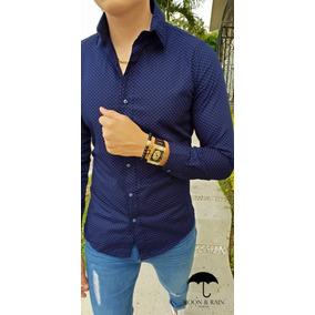 Camisa Slim Fit Azul Marino Puntos Vino - Moon & Rain