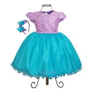 Vestido Luxo  Pequena Sereia Ariel Aniversário E Tiara Luxo