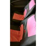 Kit Cubreasientos Volante Palanca Cinturon Rosa Para Auto