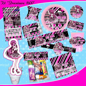 Kit Imprimible Monster High Draculaura 1600 Tarjetas Cumple