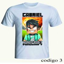 Camiseta Minecraft Personalizada! Steve + Monstros! Com Nome